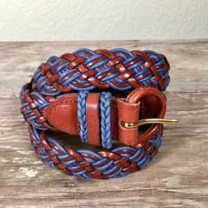 Talbots woven leather belt blue tan wrapped buckle